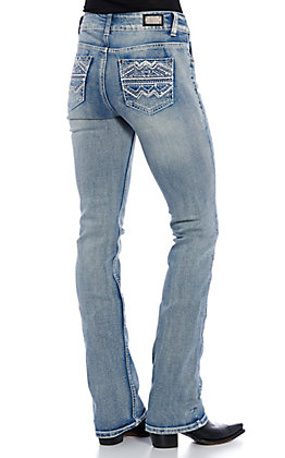 Wired Heart Women's Light Wash Zig Zag Embroidered Boot Cut Jeans