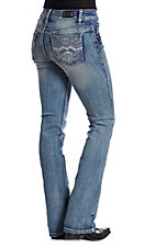 Wired Heart Women's ZigZag Light Wash Boot Cut Jeans