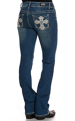 Wired Heart Women's Cross with Studs and Crystals Boot Cut Jeans