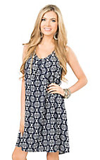 Peach Love CA Women's Navy and White Diamond Print Bow Back Sleeveless Dress