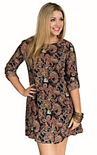 Mezzanine Women's Navy with Multicolor Paisley Print 3/4 Tab Sleeve Dress