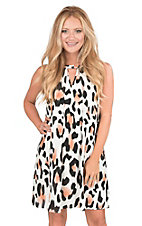 Peach Love White, Coral, and Black Large Leopard Print Sleeveless Halter Dress
