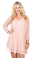Peach Love CA Women's Peach Crochet Long Sleeve Keyhole Back Swing Dress