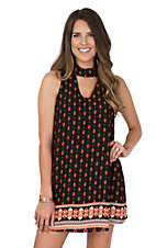 Peach Love Women's Orange & Black Border Print Dress