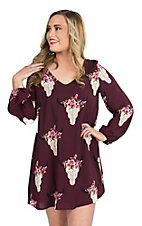 Fantastic Fawn Women's Purple Floral Steer Head Print Long Sleeve Dress