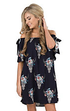 Peach Love Women's Navy Off Shoulder Steerhead Dress