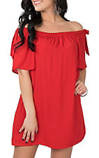 Peach Love Red Off the Shoulder Dress