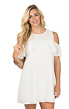 Peach Love Women's Ivory Ruffle Top Cold Shoulder Dress