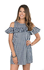 Fantastic Fawn Women's Navy Gingham Ruffle Cold Shoulder