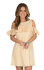 Fantastic Fawn Women's Yellow Gingham Ruffle Cold Shoulder