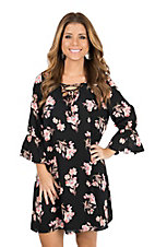 Berry N Cream Black and Mauve Floral Long Sleeve Dress