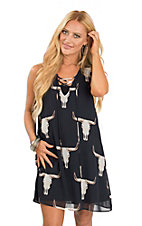 Peach Love Women's Navy Skull Print Sleeveless Dress