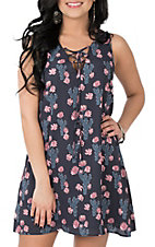 Peach Love Women's Navy Cactus Print Dress