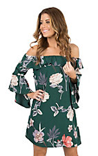 Peach Love Women's Hunter Green Floral Off The Shoulder Dress