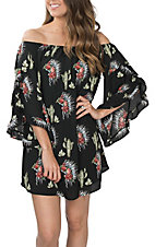 Berry N Cream Women's Black Cactus and Headdress Print Off the Shoulder Dress