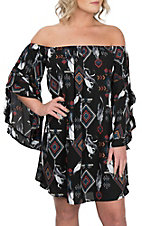 Peach Love Women's Black Aztec Feather Dress
