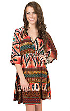 R. Rouge Women's Rust Multiprint Kimono 3/4 Sleeve Dress