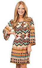 R. Rouge Women's Khaki, Turquoise and Rust Multi Tribal Print 3/4 Sleeve Dress - Plus Sizes