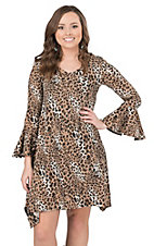 R. Rouge Women's Leopard Print 3/4 Sleeve Dress - Plus Size
