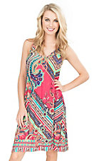 R. Rouge Women's Coral, Teal, and Blue Multi Print Sleeveless Dress