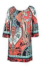 R. Rouge Women's Coral, Turquoise, and Navy Multi Print 3/4 Bell Sleeve Dress - Plus Size