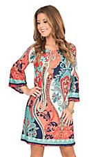 R. Rouge Women's Coral, Turquoise, and Navy Multi Print 3/4 Bell Sleeve Dress