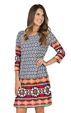 R. Rouge Women's White & Navy Geo Print with Multi-Color Border 3/4 Sleeve Dress