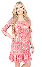 R. Rouge Women's Coral and White Print with Ruffled Bottom Hem 3/4 Sleeve Dress