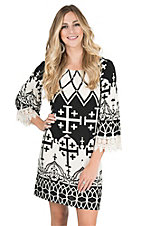 R. Rouge Women's Black with Cream Cross Print Long Bell Sleeve Dress