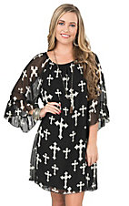 R. Rouge Women's Black with White Cross Print and 3/4 Bell Sleeve Dress