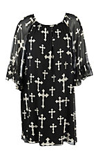 R. Rouge Women's Black with White Cross Print and 3/4 Bell Sleeve Dress - Plus Size