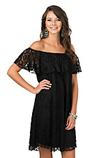 R. Rouge Women's Black Lace with Ruffled Top Cap Sleeve Dress