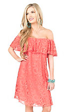 R. Rouge Women's Coral Lace with Ruffled Top Cap Sleeve Dress
