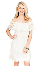 R. Rouge Women's Ivory Lace with Ruffled Top Cap Sleeve Dress