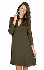 R. Rouge Women's Solid Olive with Keyhole and 3/4 Sleeve Dress