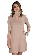 R. Rouge Women's Solid Taupe with Keyhole and 3/4 Sleeve Dress