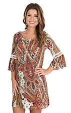 R. Rouge Women's Rust and Turquoise Paisley Print Off The Shoulder with Crochet Details on 3/4 Bell Sleeves Dress