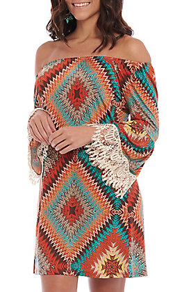 R. Rouge Women's Rust and Turquoise Diamond Print with Lace 3/4 Bell Sleeves Dress