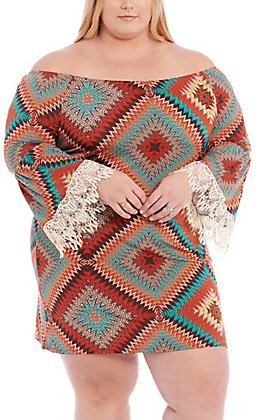 R. Rouge Women's Rust & Turquoise Diamond Print with Lace Bell Sleeves Dress - Plus Size