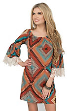 R. Rouge Women's Rust Geometric Print Off The Shoulder with Crochet Details on 3/4 Sleeves Dress