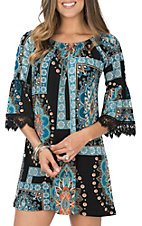 R. Rouge Women's Black and Turquoise Medallion Print with Lace Dress