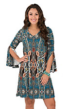 R. Rouge Women's Teal & Chocolate Paisley Dress
