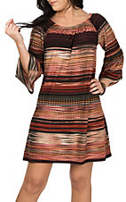 R. Rouge Women's Rust Ombre Stripe Dress