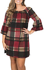 R. Rouge Women's Burgundy and Black Plaid Soft Dress