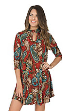 R. Rouge Women's Red w/ Multi-Color Paisley 3/4 Sleeve Dress