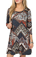 R. Rouge Women's Navy & Rust Floral Print Dress