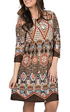 R. Rouge Women's Orange and Brown Print Dress