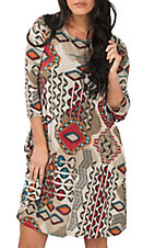 R. Rouge Women's Cream, Orange and Teal Multi-Print Dress