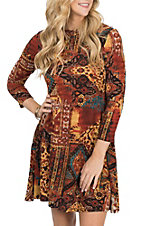 R. Rouge Women's Rust Multi-Print Dress