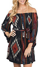 R. Rouge Navy and Orange Aztec Dress